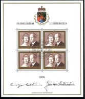 LIECHTENSTEIN MI-NR. 614 O KLEINBOGEN FÜRSTENPAAR FRANZ-JOSEF II UND GINA - Blocs & Feuillets
