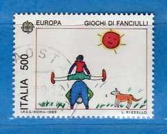 Italia °- Anno 1989 - EUROPA Disegni Di Bambini - L: RIZZELLO. £ 500  . USATO. Unif. 1881.  Vedi Descrizione - 6. 1946-.. Republik