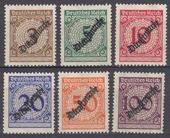 DEUTCHES REICH - 1923 - Serie Completa Nuova Senza Gomma: Yvert Servizio 62/67, 6 Valori. - Oficial