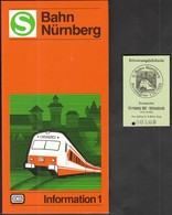 Germany Nurnberg 1983 / S Bahn / Metro / Subway / Trains / Railway / Ticket + Plan / First Ride - Europe