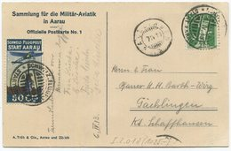1956 - Pionierflug - Vorläufer AARAU Am 6. April 1913 Auf Offizieller Postkarte No. 1 - Poste Aérienne