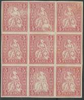 1957 - FARBPROBE Sitzende Helvetia Im 9er Block Ohne Kontrollzeichen Und Ungummiert - 1862-1881 Helvetia Assise (dentelés)