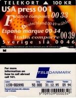 TARJETA TELEFONICA DE DINAMARCA. TDKR004, New International Codes (132) - Dinamarca