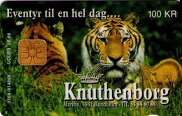TARJETA TELEFONICA DE DINAMARCA. DD123, TIGRE - Knuthenborg - TIRADA 20000 (122) - Dinamarca