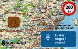 TARJETA TELEFONICA DE DINAMARCA. DD177C, Vejdirektoratet, Map (TIRADA 5043). (023) - Dinamarca