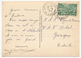 ANDORRE - 12F Vert (Yvert 130) Oblit 1952 Sur CP Ordino - La Plaça - Lettres & Documents