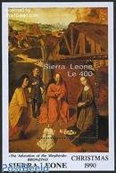 Sierra Leone 1990 Christmas S/s, Bronzino Painting, (Mint NH), Art - Paintings - Religion - Christmas - Weihnachten
