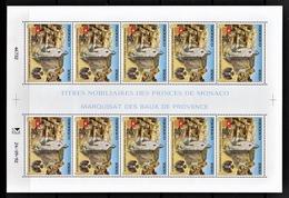 MONACO 1992 - FEUILLE DE 10 TP /  N° 1841 - NEUFS** - Blocks & Kleinbögen