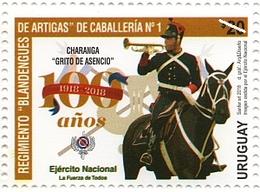 1636 URUGUAY-2018- 100 Años Del Ejército Nacional-TT:Caballos,Banderas,Escudos,Sombreros,Lanzas - Uruguay