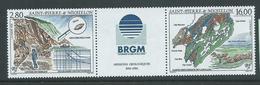 St Pierre & Miquelon 1995 Geological Mission Strip Of 2 With Label MNH - St.Pierre & Miquelon