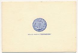 """Carte De Voeux 1961 - Sous-Marin """"ESPADON"""" - Petite Photo Du Sous-marin à L'intérieur - Boats"""