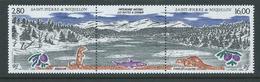 St Pierre & Miquelon 1993 Natural Heritage Buttes A Sylvain Strip Of 2 + Label MNH - Unused Stamps