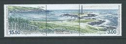 St Pierre & Miquelon 1998 Natural Heritage Blue Cape & Point Strip Of 2 + Label MNH - Unused Stamps