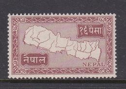 Nepal, Scott 77 1954 Map Of Nepal,16p Red Brown,Mint Never Hinged, - Nepal