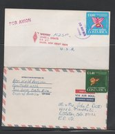 Lot 2 Great Air Covers Costa Rica To USA 1978 Orchids - Orchids