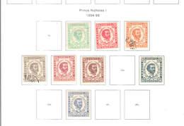 Montenegro PO 1894/98 Prince Nicolas I° Scott.33/38+40+42+ See Scan On Scott.Pages - Montenegro