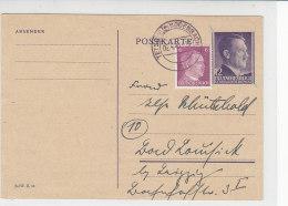 Aufbrauch Ganzsache GG Aus  TETSCHEN-BODENBACH 6.4.45!! Nach Bad Lausick - Occupation 1938-45