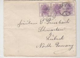 Brief Mit Mehrfachfrankatur Aus BLOEMFONTEIN 15.JU.96 Nach SCHWARTAU ... Deutschland / Waagerecht Gefaltet - Oranje-Freistaat (1868-1909)