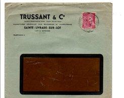 MERCURE SUR LETTRE A EN TETE DE SAINTE LIVRADE SUR LOT LOT ET GARONNE DU 1/8/1948 - Marcophilie (Lettres)