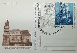 O) 1983 POLAND, PICTURE FRAGMENT ON THE WALL DEPICTING -CHURCH - OBRA MATKI BOZEJ - POPE JOHN PAUL II. POSTAL STATIONERY - 1944-.... Republic