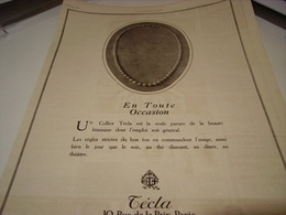ANCIENNE PUBLICITE LES PERLES EN TOUTE OCCASION DE  TECLA 1923 - Other