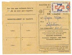 JURA CARTE DE RATIONNEMENT TABAC DE LA VILLE DE ST CLAUDE - Documents Historiques