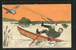 CPA Illustrateur Ermenegildo Carlo Donadini: Jäger Schmeisst Es Vom Rückstoss Seiner Flinte In Den See - Hunting