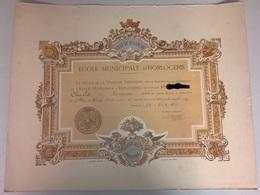 Diplôme Ecole Municipale D'Horlogerie De Besancon - 1885 - 2ème Prix De Dessin - 38 X 48 Cm - Pas De Pliure - Diplômes & Bulletins Scolaires