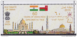 OMAN, 2015, MNH, FLAGS, DIPLOMATIC TIES WITH INDIA, TAJ MAHAL, MOSQUES, 1v - Monuments
