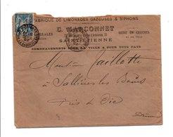 SAGE SUR LETTRE A EN TETE DE SAINT ETIENNE QUARTIER DE LA BADOULLIERE DU 18/9/1892 - Marcofilia (sobres)