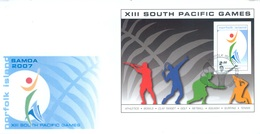 NORFOLK ISLAND - FDC - 28.8.2007 - SOUTH PACIFIC GAMES  - Yv BLOC 57 - Lot 17597 - Ile Norfolk