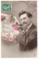 Thèmes - CPA - Amitié Bonheur Prospérité - Fantaisies - Homme - Fleur - Nouvel An