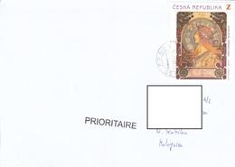 22D: Czech Republic Woman Art Stamps Used On Cover - Czech Republic