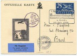 1959 - Flugvignette BINNENSCHIFFAHRTS-AUSSTELLUNG BASEL 1926 Auf Offizieller Karte - Premiers Vols