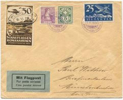 1960 - Flugvignette SCHAUFLIEGEN ROMANSHORN MiF Mit 25 Rp. Flugpost, 15 Rp. Helvetia Brustbild + 5 Rp Wertziffer - Luftpost