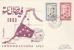 MAROC FDC 1963 - Yvert  Série 453 Et 454 Victimes Inondations - Marruecos (1956-...)