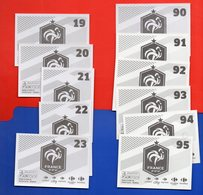 DT258XX LOT 11 CARTE FOOT COUPE MONDE PANINI FAMILY FIERS ETRE BLEU 2018 Carrefour FOOTBALL N°19 à 23 Et 90 à 95 - French Edition