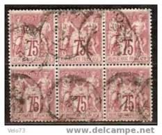 N° 71x6 SAGE 75c EN BLOC DE 6 - 1876-1878 Sage (Tipo I)