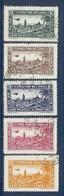 TUNISIE SERIE DE 5 VIGNETTES EXPO. DE 1932 AEROPHILATELIE OBLITEREES - Tunisie (1888-1955)