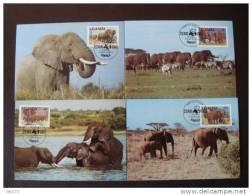 SERIE 4 CARTES MAXIMUM OFFICIELLES WWF OUGANDA ELEPHANTS - W.W.F.