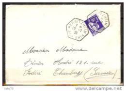 N° 368 SUR LETTRE OBLITERE CACHET HEXAGONAL HERBITZHEIM DU 10/7/37 - Marcophilie (Lettres)