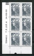 FRANCE 1927 N° 4228 ** Bloc De 6 Coin Daté Neuf MNH Superbe  Type Marianne De Beaujard - Neufs