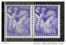 N° 656 IRIS 4F BLEU VARIETE 4 AVEC CROCHET TENANT A NORMAL ** - Variétés Et Curiosités