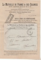 CACHET JOURNAUX PP LYON GROLEE 9/8/20 SUR ENV MUTUELLE FR+ COLONIES POUR VIARMES -           TDA103A - 1877-1920: Semi Modern Period