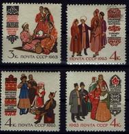 Sowjetunion USSR CCCP 1963 - Trachten -MiNr 2739-2742 - Kostüme