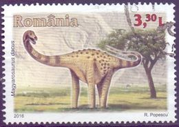 Used Romania 2016,Prehistoric Animals - Magyarosaurus 1V. - 1948-.... Repubbliche