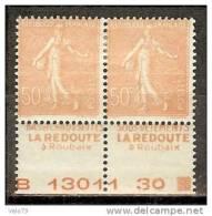N° 199 X 2 PAIRE PUB LA REDOUTE+NUMERO DE FEUILLE SUR LE BAS  RARE * - Advertising
