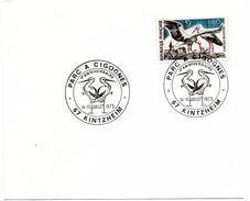 OISEAU / CIGOGNE = 67 KINTZHEIM 1973 = CACHET Illustré CONCORDANT N° 1755 = PARC A CIGOGNES / ANNIVERSAIRE - Marcophilie (Lettres)