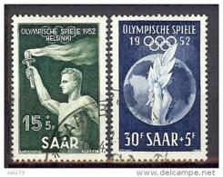SARRE N° 301/302 JEUX OLYMPIQUES HELSINKI OBLITERES TTB - Sarre