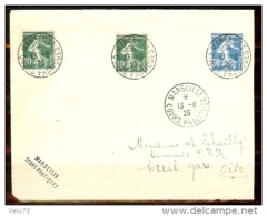 N° 159x2+192 SEMEUSE OBLITERES COURS PRATIQUES MARSEILLE DU 13/8/26 SUR DEVANT DE LETTRE - Marcophilie (Lettres)